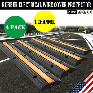 4 pack 1 Channel Rubber Cable Protector Ramp Safety Electrical Wire Cover