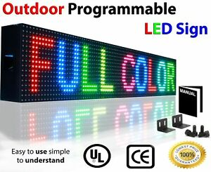 Outdoor Led Sign 6 X 38 10mm Programmable Scrolling Full Color Wifi Display
