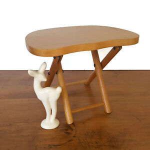 Vintage Nevco Folding Stool Wood Foldn Carry Child Camping Milking Rustic Cabin
