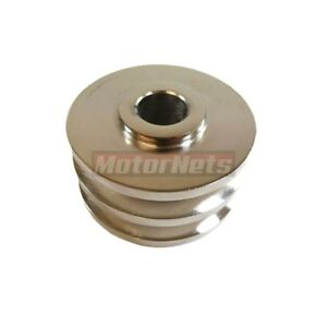 Chrome Double 2 Groove Alternator Pulley Fits Sbc Bbc 350 454 Chevy All Ford