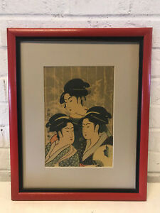 Antique Japanese Kitagawa Utamaro Woodblock Print Three Beauties Of Present Day