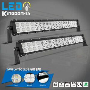 2x 24 Inch 1280w Spot Flood Combo Led Light Bar Driving Suv Atv Pickup Boat