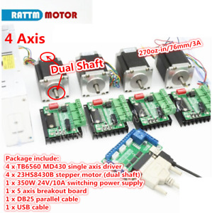 4 Axis 76mm Stepper Motor Nema23 270oz in Dual Shaft tb6560 Driver board Cnc Kit