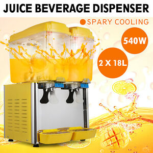 250w Commercial 2 tank Juice Beverage Dispenser Cold Drink Fruit Ice Tea