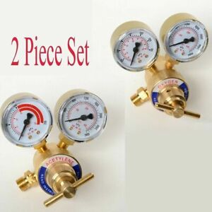 2pc Set Acetylene And Oxygen Regulators Dual Gauge Portable Size
