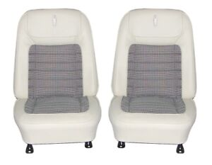 1968 Camaro Deluxe Houndstooth Interior Bucket Seat Covers Parchment