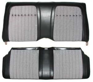 1969 Camaro Deluxe Houndstooth Interior Fold Down Rear Seat Covers Black