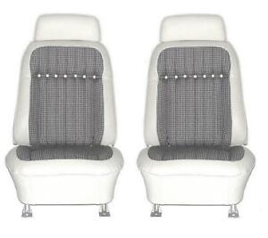1969 Camaro Deluxe Houndstooth Interior Bucket Seat Covers White
