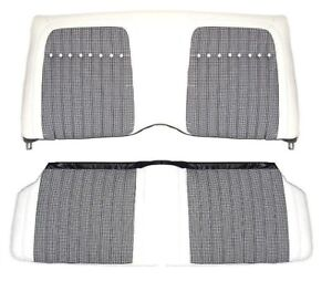 1969 Camaro Deluxe Houndstooth Interior Fold Down Rear Seat Covers White