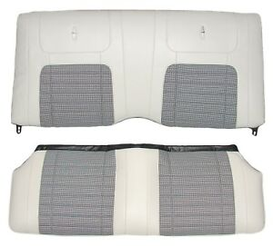 1968 Camaro Deluxe Houndstooth Interior Fold Down Rear Seat Covers Parchment