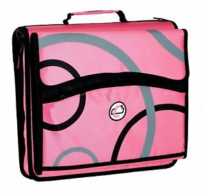 Case it 2 inch O ring Zipper Binder With Removable Tab File Blue D 900 Pink