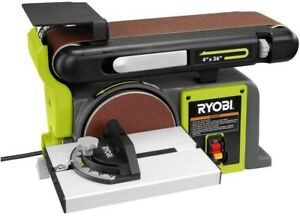 Ryobi Bench Sander 120-Volt Grinder Top Belt Disc Tilt Cast Iron Base