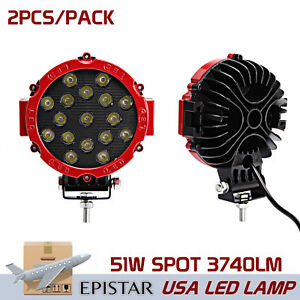 2x 51w Round Led Light 7inch Spot Off Road Roof Red Bumper Driving Work Lamp Suv