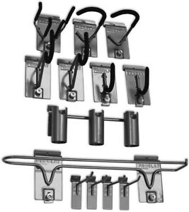 13 Pack Storage Hook Kit Sport Gear Holder Garage Wall Organizer Bike Ski Rod