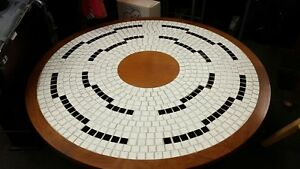Vintage Mid Century Modern Low Round Mosaic Tile Coffee Table