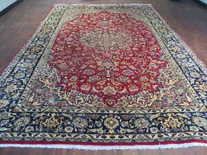 8 X 12 Vintage Hand Made Persian Kashan Wool Rug Decorative Iran Persia Nice