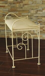 Wrought Iron Vanity Bench Cream Scroll Metal Vanity Bench Settee Vtg Iron Stool