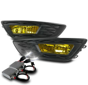2015 2017 Ford Focus Yellow Bumper Driving Fog Lights Lamps Yellow W 50w 6k Hid