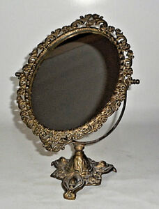 Antique Solid Brass Ornate Dressing Table Vanity Mirror 14 Tall Excellent