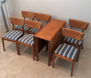 Heywood Wakefield Dining Set Drop Leaf Table M 166 G And 6 Chairs M 551 A