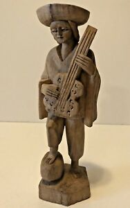 Vintage Hand Carved Man Playing Guitar Musical Instrument 8 Tall