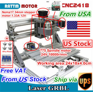 usa 3 Axis Mini Diy 2418 Grbl Control Cnc Router Pcb Wood Milling Laser Machine