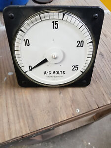Ge General Electric Ac Voltmeter 8ab18v203ab1 Panel Meter 0 25 Vac