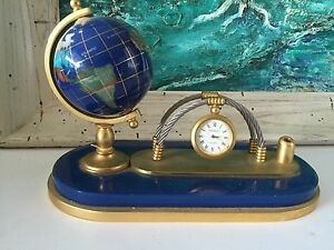 Handcrafted Gemstone Globe Desk Pen Set With Clock Lapis Blue