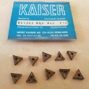 Kaiser 651 203 R0 4 K45 P10 Lathe Carbide 10 Inserts Mill New Tools