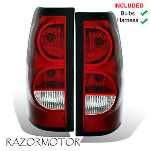 2003 06 Replacement Rear Tail Lights Set For Chevy Silverado W bulb And Harness