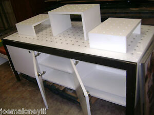 Retail Display Table Black White Modern Industrial Display Cabinets Set 2