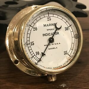 vintage Brass Marine Gauge Steampunk Industrial 2 1 2 Rustic Chic Shined