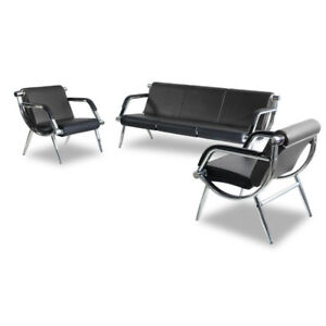 3pcs Reception Airport Chairs Set Office Waiting Room Bench W pu Leather Black