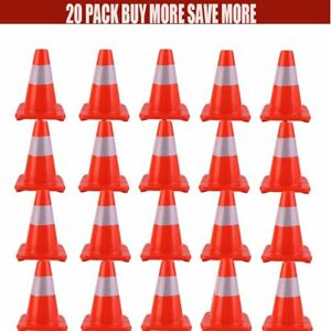 20 X 12 Construction Traffic Sports Reflective Red Wide Body Safety Cones Oy