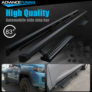 Fits 16 19 Toyota Tacoma Double Cab Pro Oe Style Running Boards Black Steel