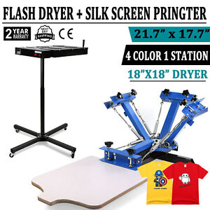 Silk Screen Printing Machine With 18 x18 Flash Dryer Adjustable Stand Equipment