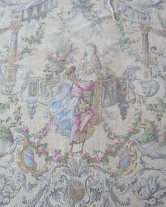 French Antique Romeo Juliette Printed Cotton Toile Fabric C1870 80 32 Lx31 W