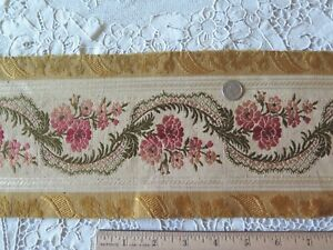 Antique 1870 French Roses Ribbons Silk Border Fabric 2yds28 Lx5 W