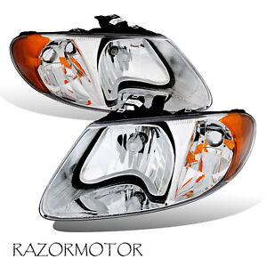 01 07 Headlight Set Pair For Dodge chrysler plymouth Minivan Caravan Pair bulb