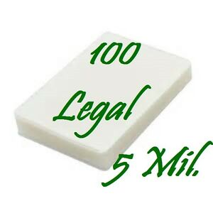 100 Legal Laminating Pouches Laminator Sleeves 9 X 14 1 2 5 Mil Scotch Quality