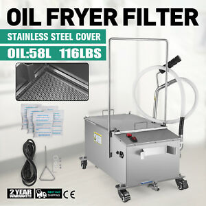 58l Fryer Oil Filter Machine Commercial 15 3gal Oil Filtration System Stainless