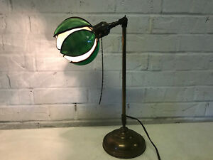 Antique Faries Brass Adjustable Desk Banker Library Lamp Handel Tulip Lily Shade