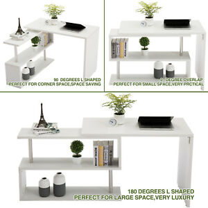 White Rotating Computer Desk Workstation Study Table Shelve Home Office