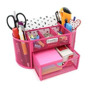 Easypag Mesh Desk Organizer Pencil Holder 8 Compartments With Drawer Pink Soft