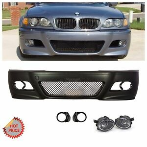 Bmw E46 M3 Style Front Bumper W Clear Fog Lights Covers For 2000 2006 Coupes