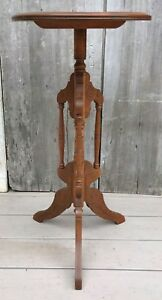 Antique Victorian Eastlake Carved Walnut 30 Tripod Plant Stand Table C 1910