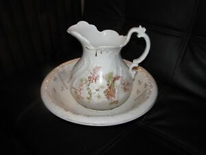 Antique Victorian Water Floral Pitcher Basin Set Hand Painted Gold Leaf Marked