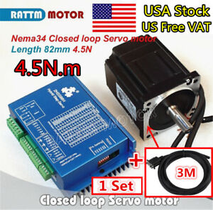 us Hss86 Hybrid Servo Driver Nema34 Stepper Motor Closed Loop 4 5n m 82mm 6a