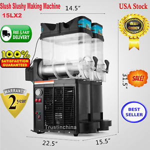 2 X 15l Slushy Machine 30l Slush Making Machine Frozen Drink Smoothie Make Us