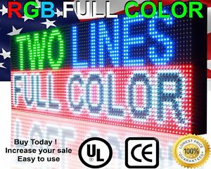 Wifi Indoor 12 X 63 Full Color 10mm Programmable Scrolling Message Board Open